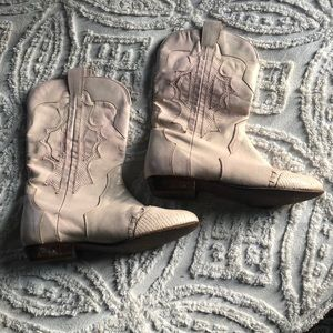 Shoes - Blush leather western booties with unique detail